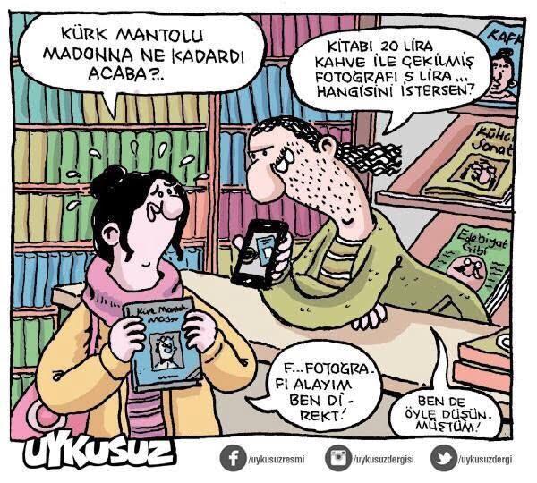 kitap ve kahve karikatür